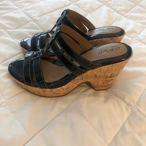 Sofft Shoes - Sofft Black Patent Leather Wedge Sandals
